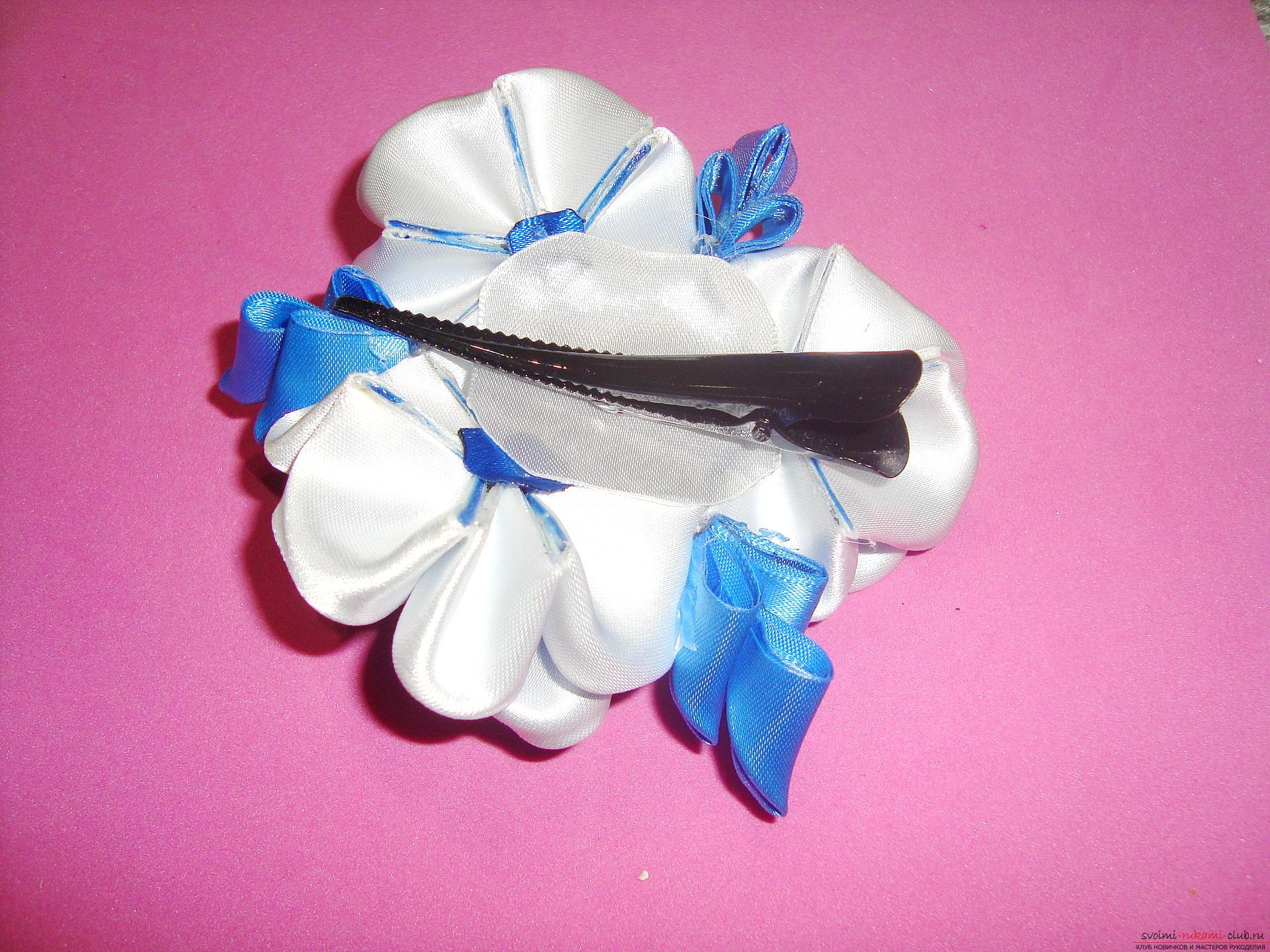 Фото інструкція з виготовлення шпильки зі стрічок блакитного кольору в техніці канзаші. фото №15