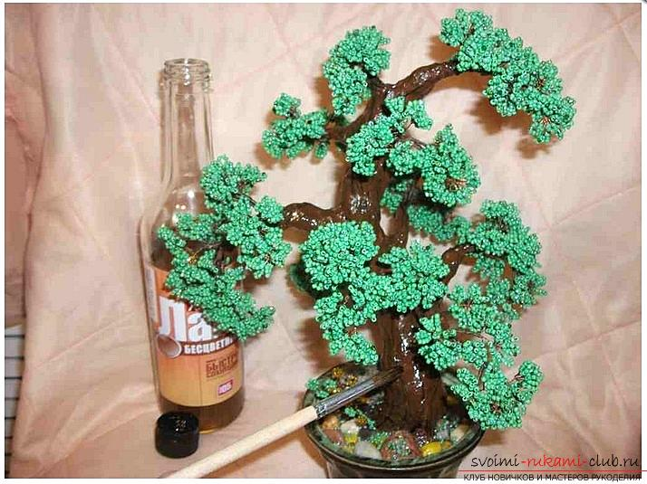 How to make a bonsai tree of beads with your own hands, several master classes of creating bonsai in different color solutions, step-by-step photos and description. Photo number 12