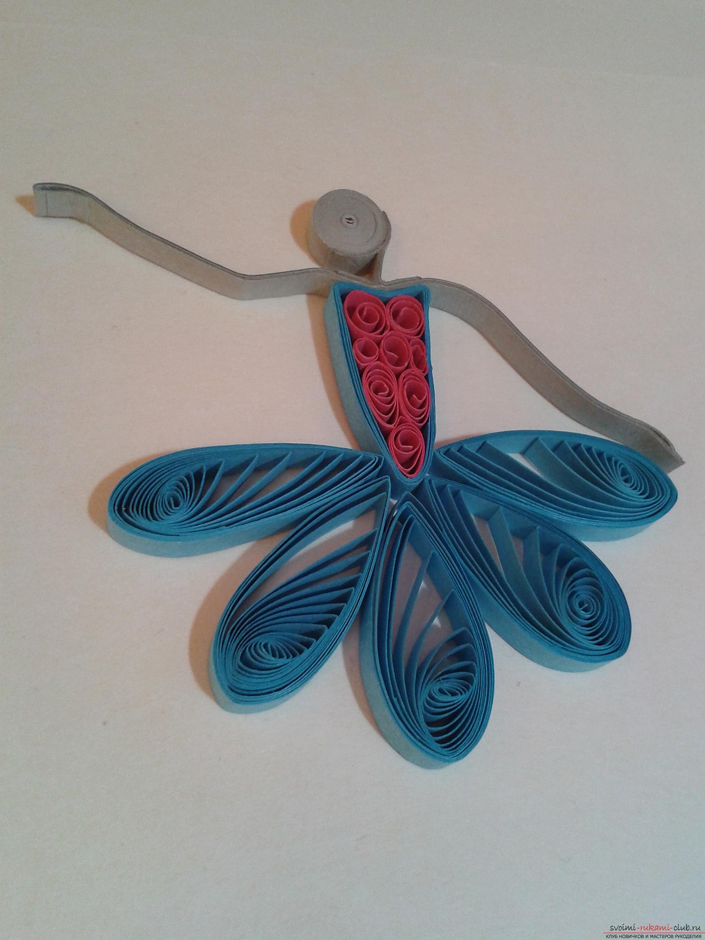This detailed master class contains a lesson of quilling for beginners and will teach you how to make your own quilling ballerina. Picture number 16