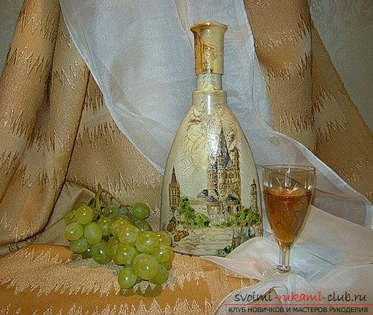 Original decoupage of bottles with their own hands: master class. Photo №1