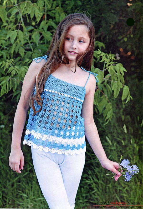 How to crochet a summer T-shirt for children of different ages with diagrams and descriptions .. Photo # 4