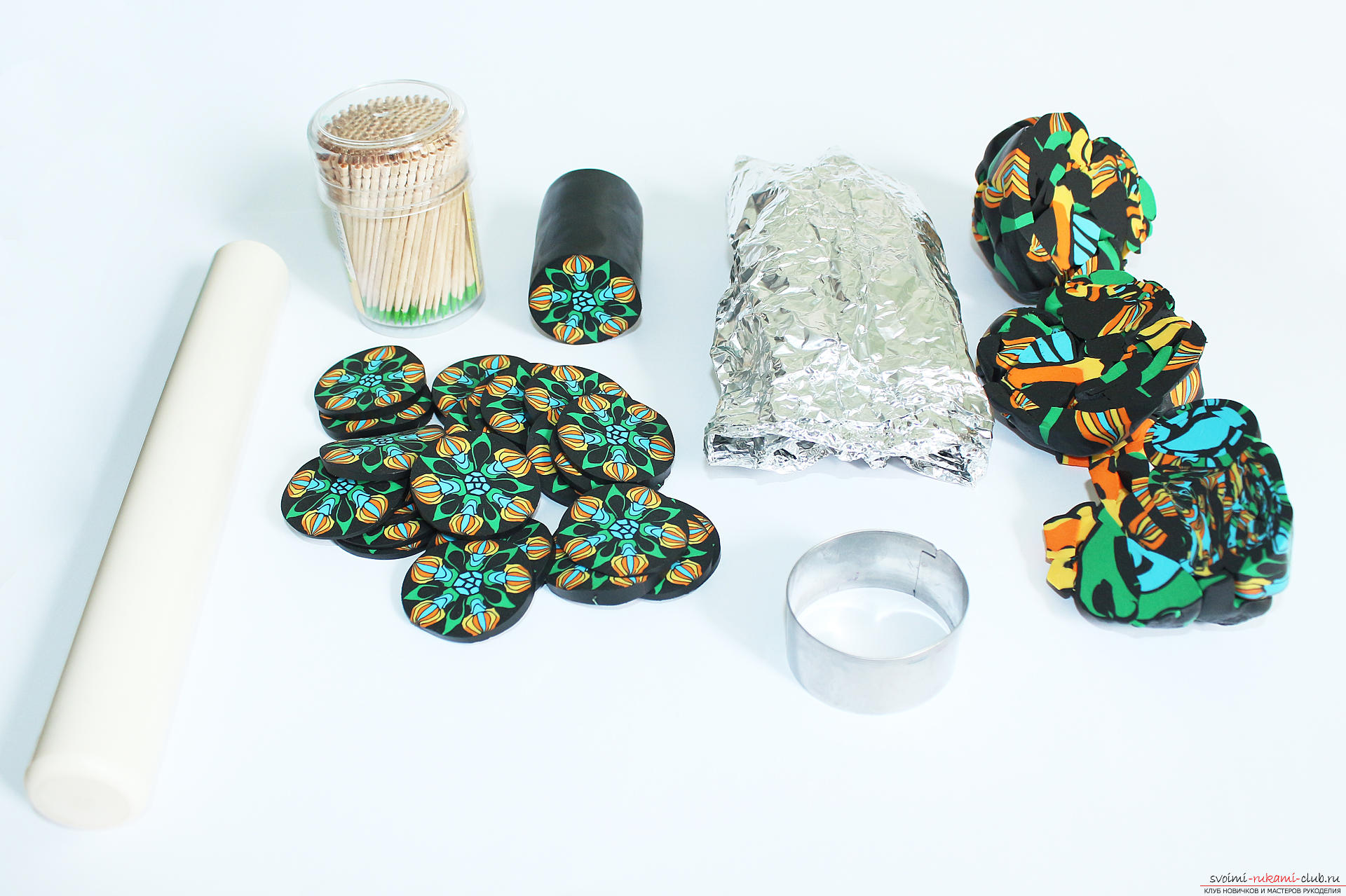 This detailed master class contains techniques for working with polymer clay and will teach you how to make a kein and beads made of polymer clay. Photo # 43