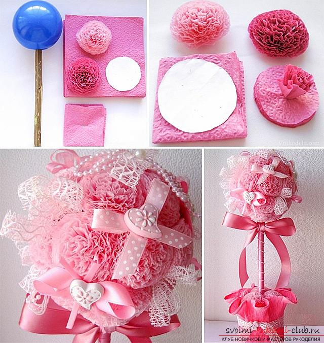 How to make original crafts for springWomen's Day - March 8, step-by-step photo creation frameworks for photos, topiary, crafts in the style of the suite design and a bouquet of huge roses from corrugated paper. Photo number 20