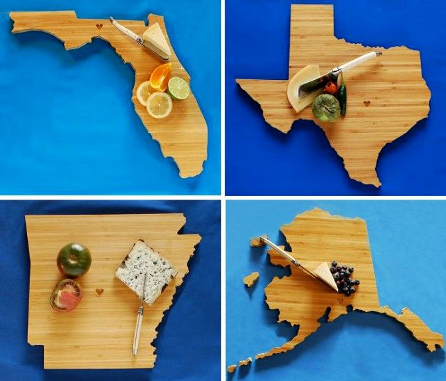 geographic wooden cutting boards - states