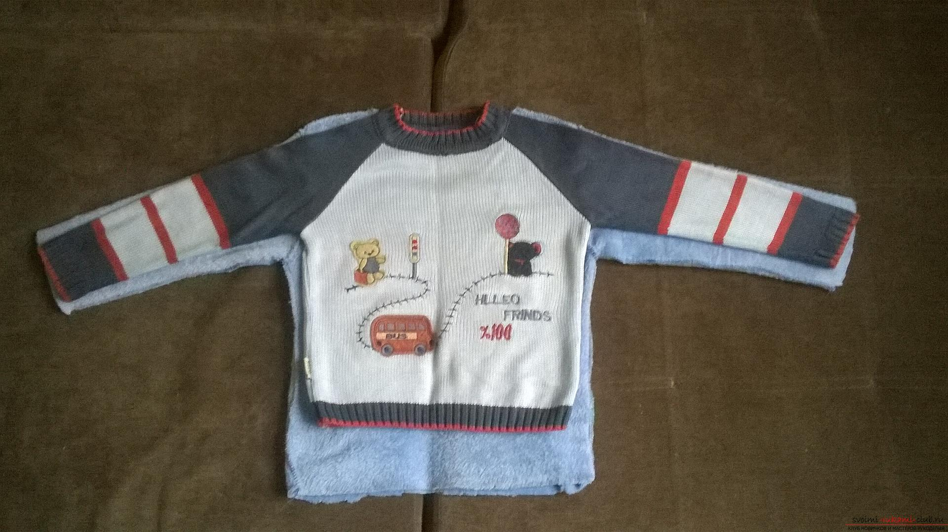 A detailed master class will teach how to sew a children's sweater for a boy with an applique. Photo # 2