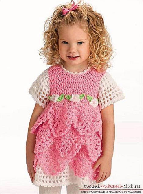 How to tie a dress with your own hands crochet for girls of different ages, description schemes and photos .. Photo # 8