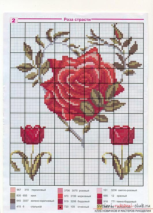 How to embroider a delicate rose with a cross quickly and easily. Photo Number 9