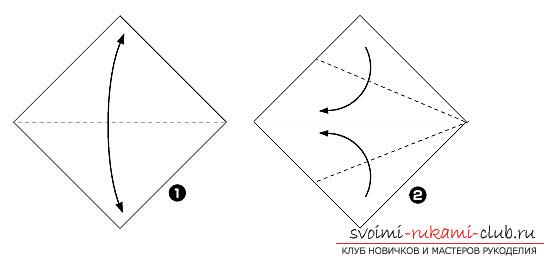 How to fold a beautifully napkin or hand-made paper in origami technique, schemes for children of 8 years old. Photo # 24