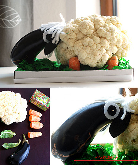Autumn crafts from vegetables and fruits. Photo №27