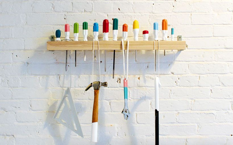 storage of tools on a hanger of screwdrivers