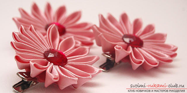 The original Kanzashi hairpin with your own hands is quick and easy. Photo # 2