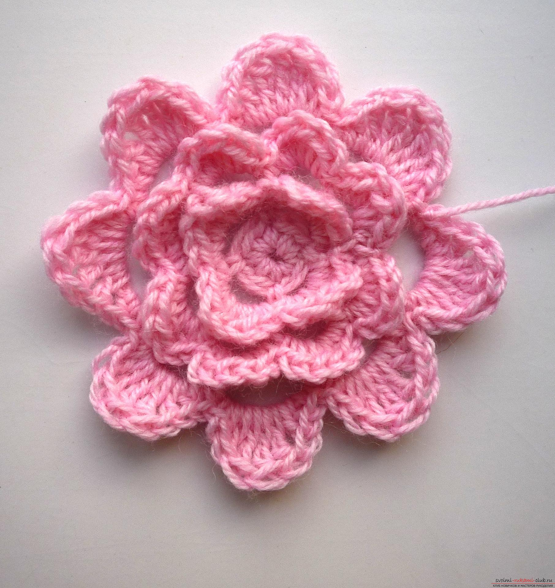 This crochet masterclass contains a crochet flower scheme for the plaid .. Photo # 10
