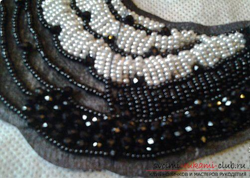 Master class embroidery beaded collar. Photo number 12