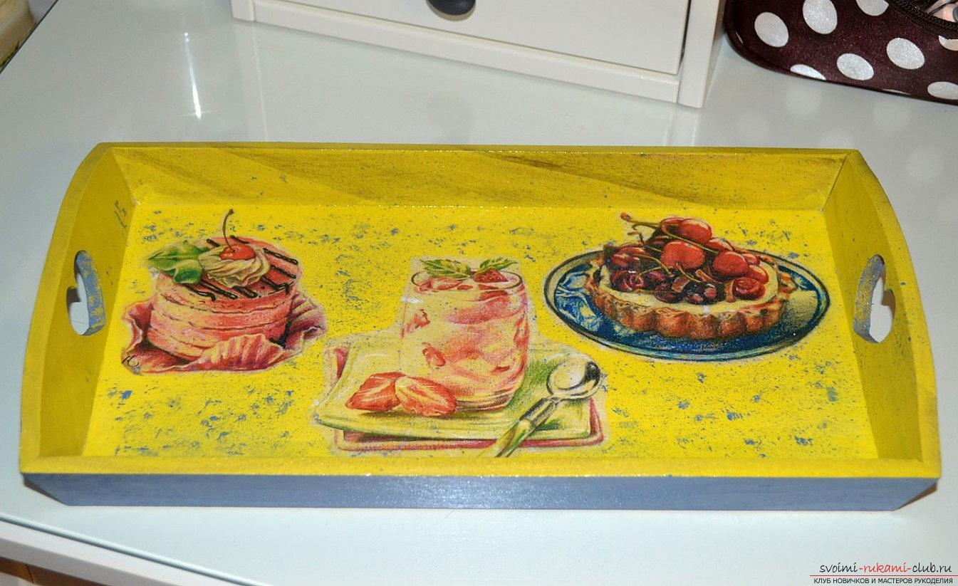 A wooden tray decorated with decoupage. Photo №1