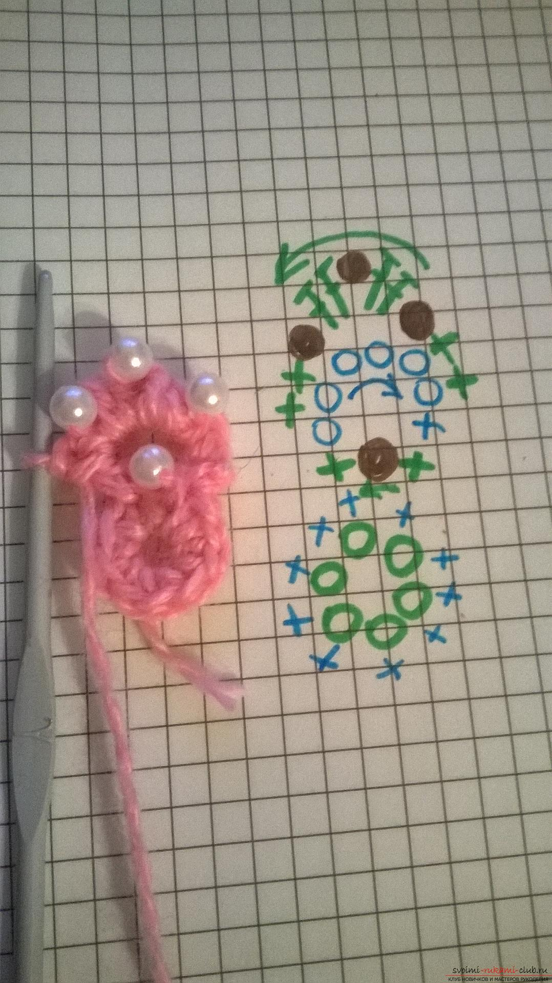 "Crochet: ""Flower with embroidered beads"". Master Class. Photo Number 11"