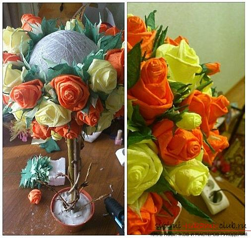How to make a beautiful tree topiari from napkins, step-by-step photos and a detailed description of the work on creating topiary with different colors. Photo number 15