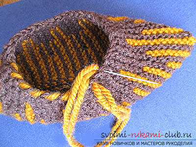 How to tie comfortable slippers-blind with knitting needles. Photo №8