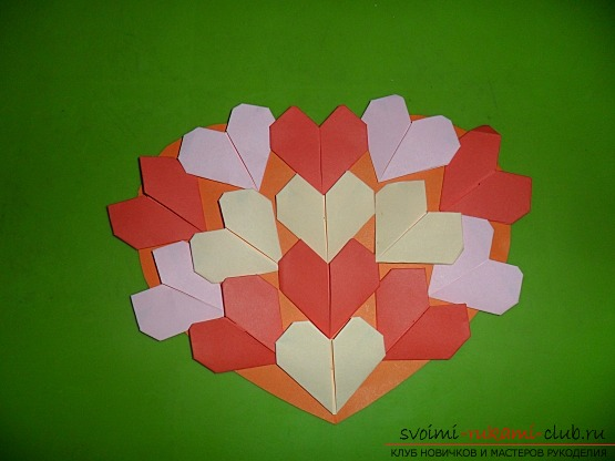 A postcard with origami figures made by own hands. Postcard is free for a gift .. Picture №3