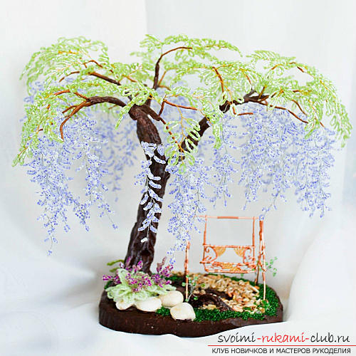 Free master classes on creating wisteria from beads, tips and advice on making blossoming brushes and decorating the trunk. step-by-step photos .. Photo # 8