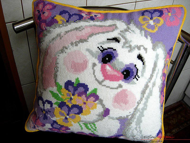 Pillow with bunny, embroidered cushions. Photo №4