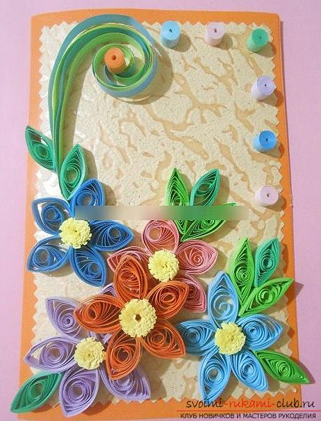 Quilling postcards for the day of jam with your own hands - a step-by-step master class. Photo №6