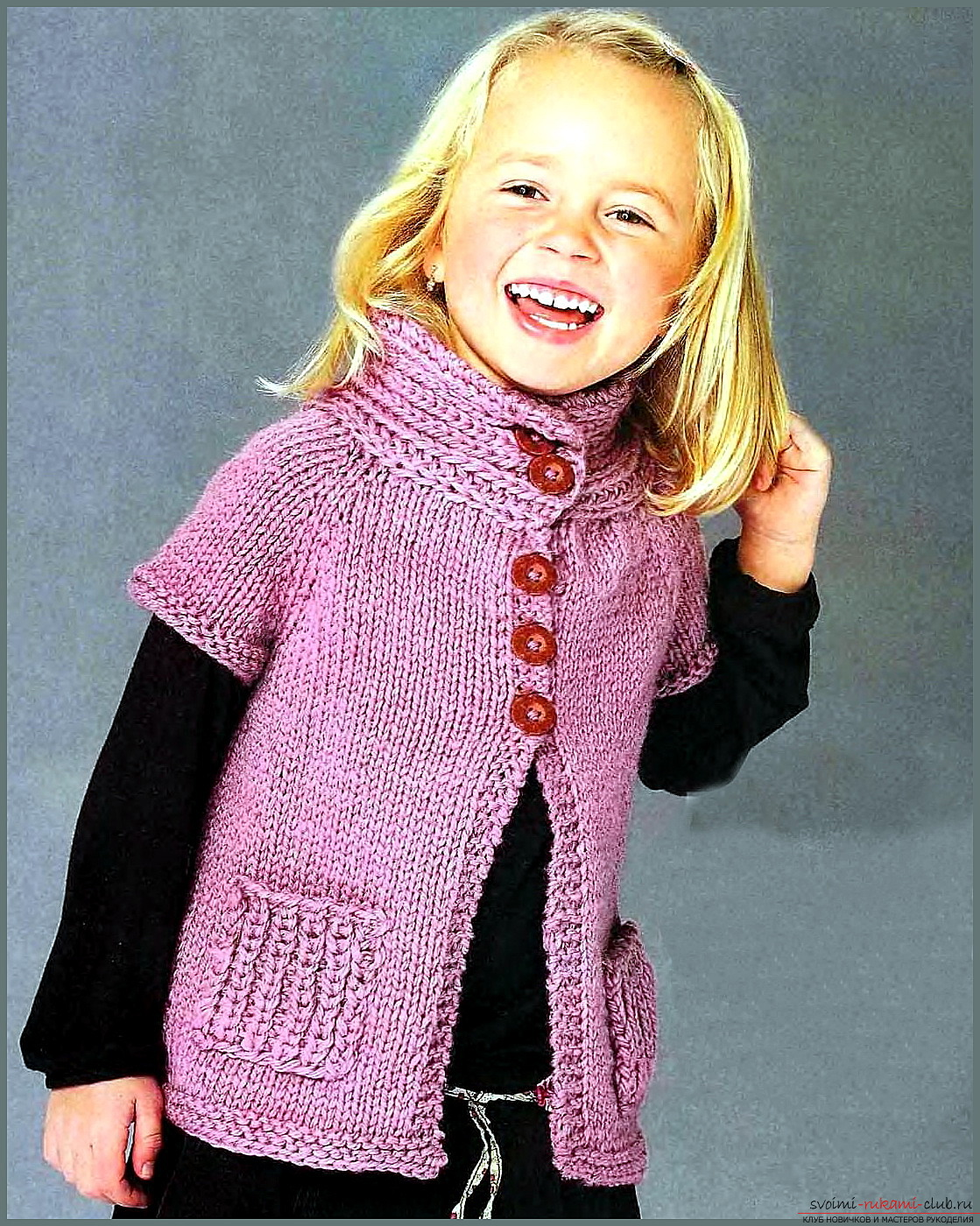 knitted knitted waistcoat for a girl. Photo №1