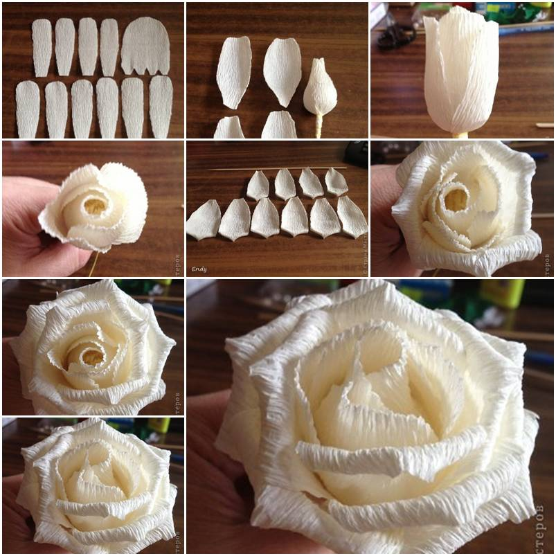 Make a rose from corrugated paper