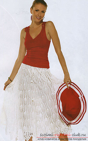 Ornate white skirt crocheted. Photo №6