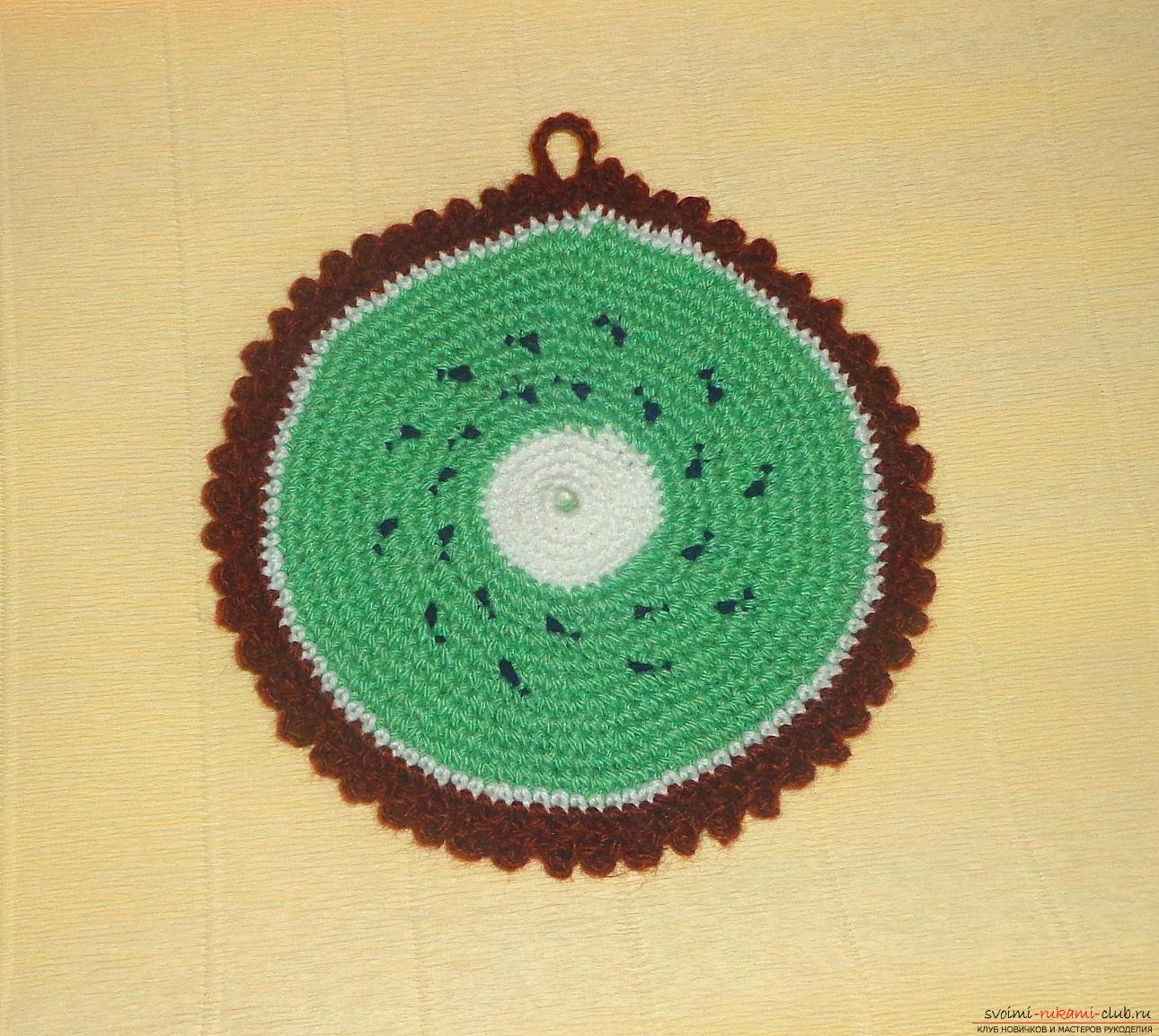 Crochet crochet lesson for hot Kiwi with a description of steps and photos. Photo Number 11
