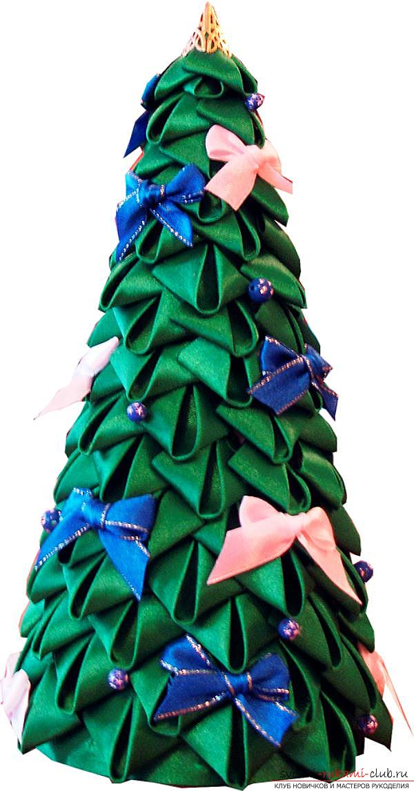How to make a herringbone from ribbons in Kansas technique, master classes of creating Christmas trees from sharp and round petals, ways of creating ornaments for miniature Christmas trees. Photo number 12