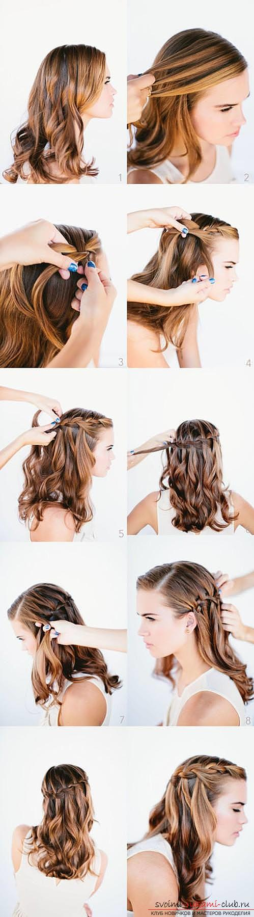 Interesting ideas for creating hairstyles with pigtails on medium hair themselves. Photo # 2