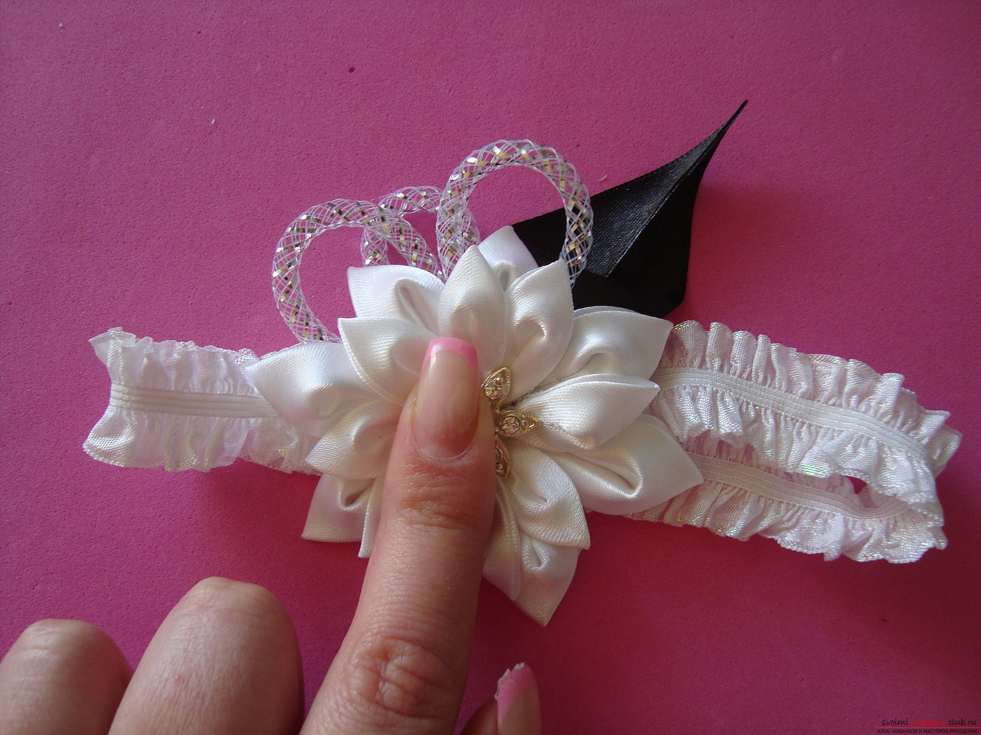 Step-by-step instruction for making bandages for the bride with description and photo. Photo №26