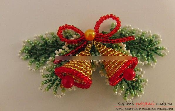 Making a bell for a Christmas tree for the new year - beading and a master class. Photo №1