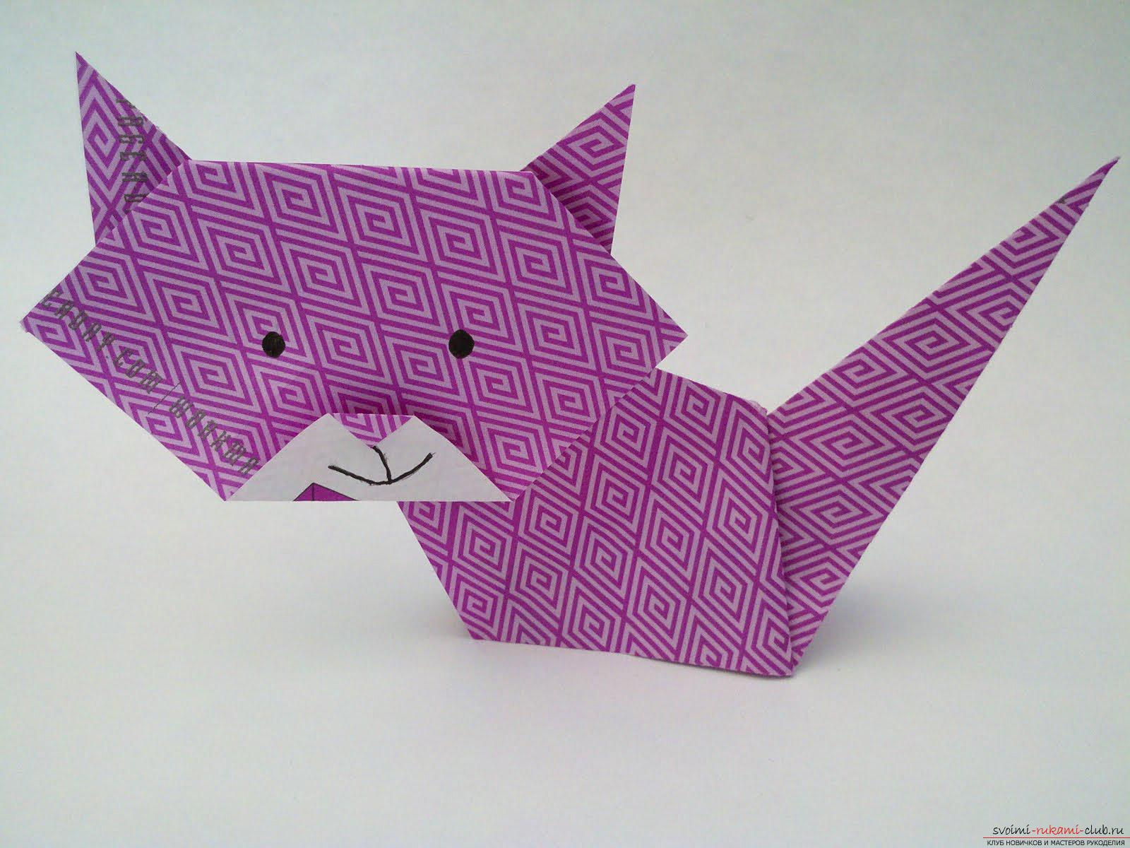 Simple schemes for the addition of cats in the technique of origami. Photo №1