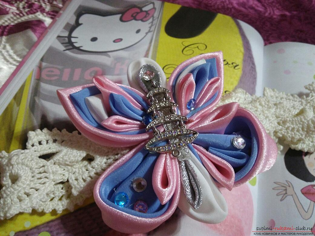 Kanzashi: a large butterfly as a hair ornament. Photo №1