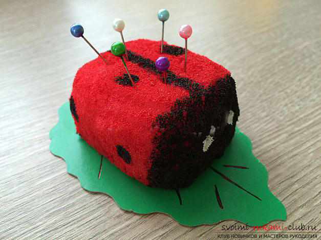 How to make a gift by March 8 with your own hands - a ladybug from a foam sponge. Photo №1
