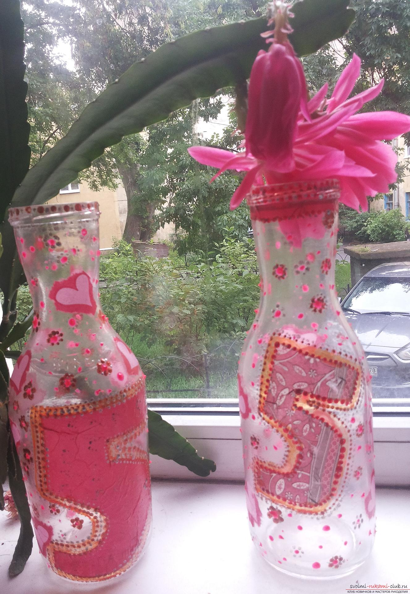 How to design glass bottles and cans by making an unusual gift. Photo №7