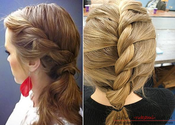 Interesting ideas for creating hairstyles with pigtails on medium hair themselves. Picture №10