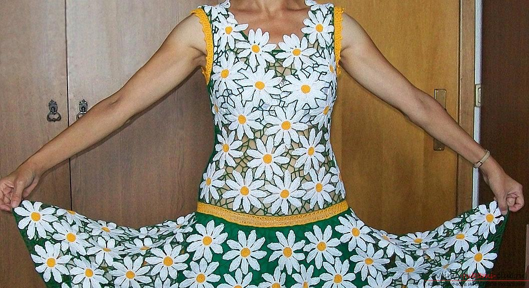 Crochet sarafans for children - a summer dress with daisies. Photo №5