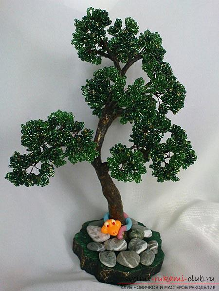 How to make a bonsai of beads with your own hands with turn-based photos. Photo №1