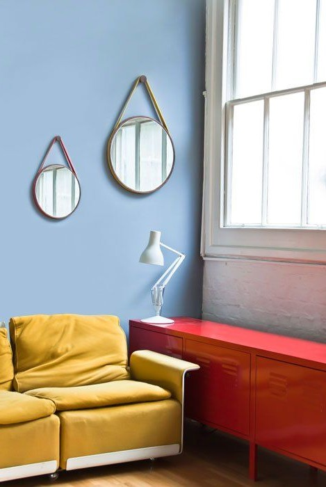 Two simple mirrors in the interior of the living room photo