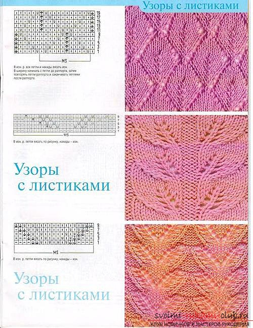 Schemes and descriptions of openwork patterns, knitted needles. Photo # 2