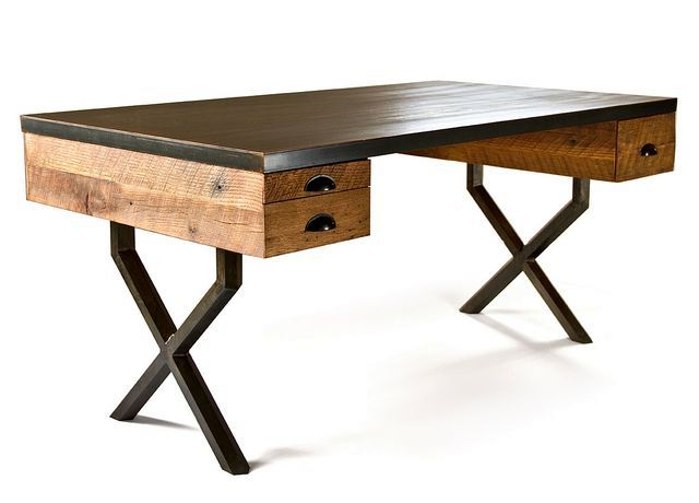 working table made of recycled wood and steel