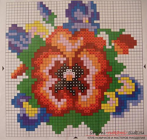 The original flower, embroidered with beads, according to the scheme and photo. Picture №3
