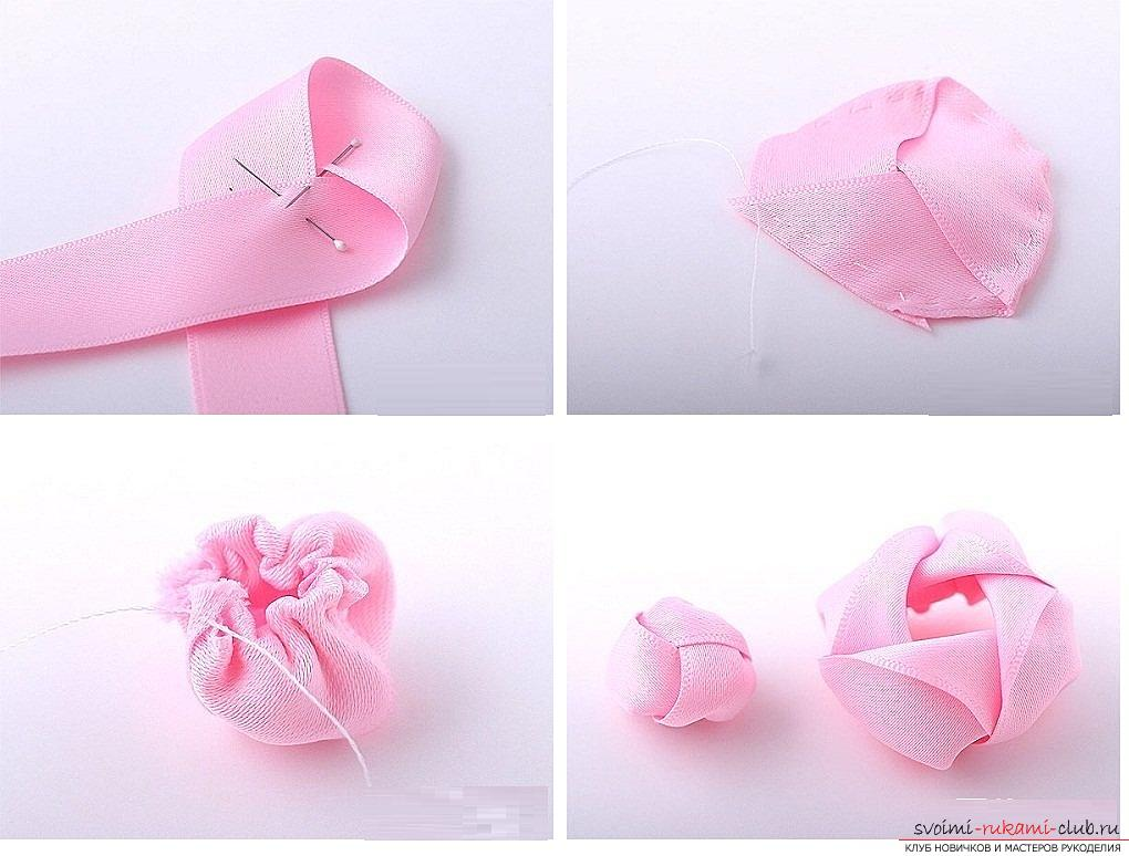 How to make roses from a ribbon with your own hands, step-by-step photos and instructions for creating a flower, seven variants of roses from a ribbon in the form of buds and blossoming flowers. Picture №33