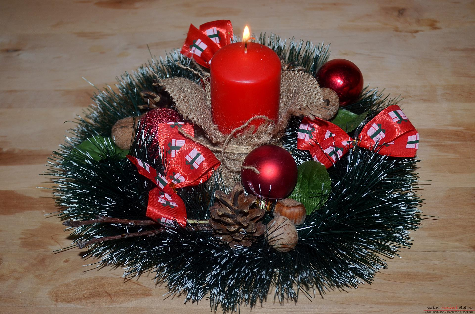 The master class will tell you how to make your own handiwork - a Christmas song with a candle. Picture №10