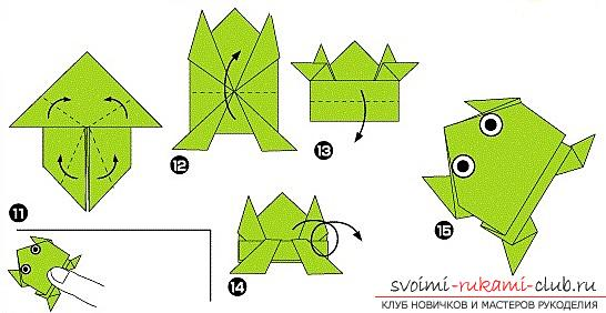 How to add funny dynamic figures from paper in origami technique for children of 7 years old. Photo # 19