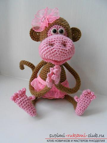 Monkey amigurumi with his hands with a step-by-step description and photo. Photo №13