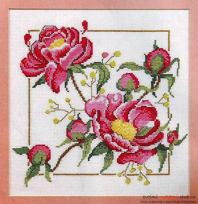 We embroider a cross of peonies: a detailed master class with a description and a photo. Photo №1
