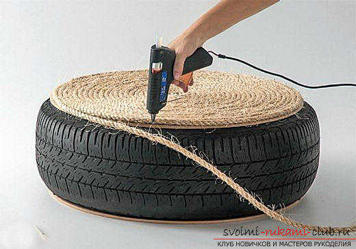 Unusual interior items with your own hands, a table from an old tire, tips and advice on how to make it .. Photo # 2
